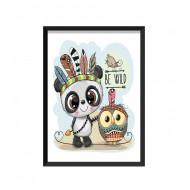 Barntavla - BE WILD / Panda och Uggla