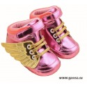 Baby Shoes pink with gold wings