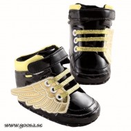 Baby Shoes black with gold wings