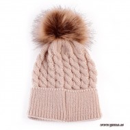 Knitted hat with fur ball - Khaki