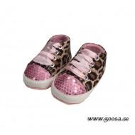 Babyskor Leopard med Cerisa snören