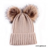 Knitted hat with fur balls - Khaki