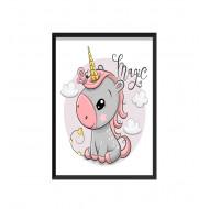 """Barntavla - Liten Enhörning med text """" Magic """""""