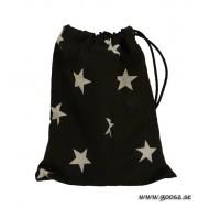 Svart Kulpåse med vita stjärnor