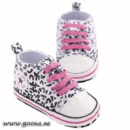Baby Shoes White/Cerise Leopard