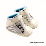 Baby Shoes White With Silver Wings
