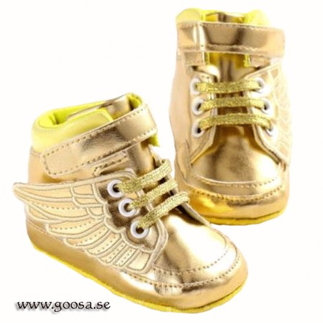 Baby Shoes gold with gold wings
