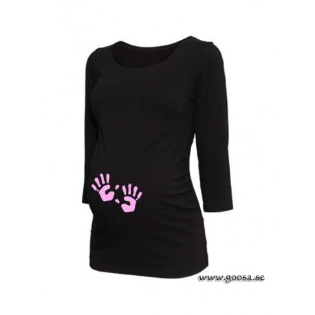 Gravidtopp 3/4-ärm Svart med Babyhänder